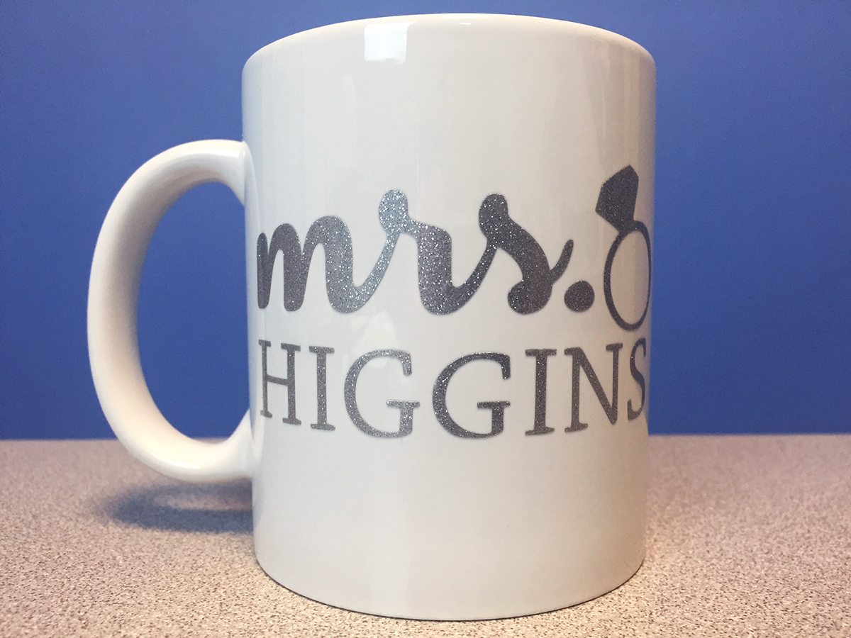 personalized mug for bride using FDC sign vinyl