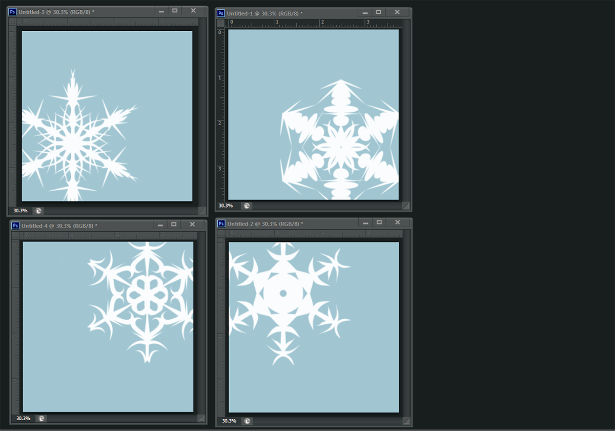 snowflake coasters in photoshop
