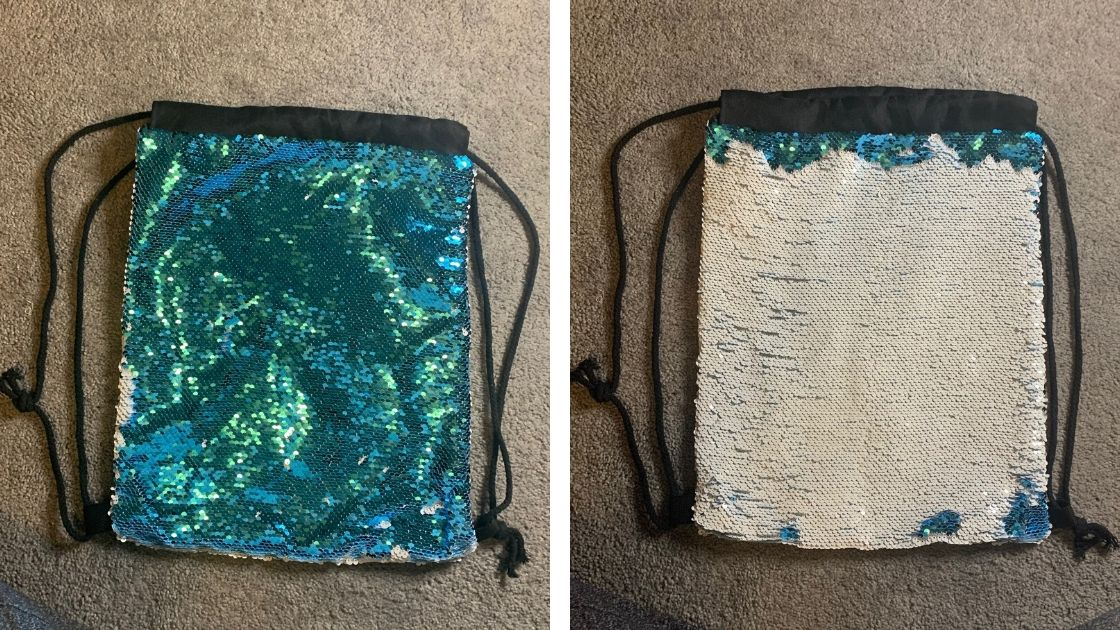 reversible sequin bag